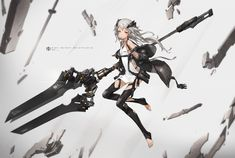 Anime Original  Garota White Hair Long Hair Weapon Jacket Papel de Parede