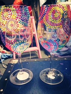sorority craft - pi beta phi big / little wine glasses with puffy paint that i made !!