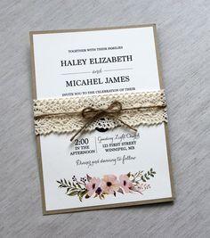 Lace Wedding Invitation Rustic Wedding by LoveofCreating on Etsy