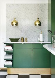 Green cabinets with