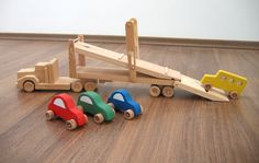Hailey the car hauler a wooden toy truck with by TrickTruck