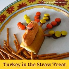Thanksgiving Snack for Kids - Turkey in the Straw Treats - Fun for the Kids to Make, too!  from B-Inspired Mama