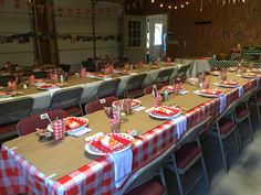 The tables all set for the low country boil birthday party. There were even bibs for the guests!