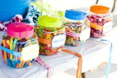 Cute cheap way to display small desserts. Can get clear plastic containers from dollar store!
