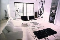 american psycho apartment B&B ITALIA Alanda coffee table, Paolo Piva  Barcelona Chairs, Mies van der Rohe