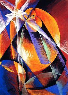"""Giacomo Balla: """"Mercurio visto desde un telescopio,pasa delante del sol""""  1914"""