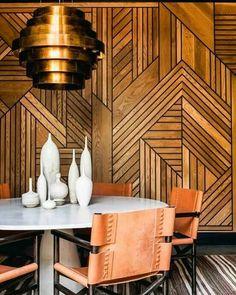 Wooden panels wall warm wood dark stunning geometric, copper light shade white ceramics