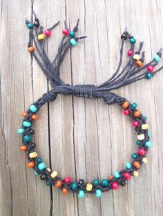 Braided Hemp and Bead Bracelet