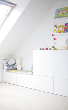 IKEA Besta storage in an attic Kids Playroom Ideas Attic Besta IKEA storage Ikea Kids, Ikea Storage, Bedroom Storage, Toy Storage, Storage Cabinets, Record Storage, Storage Ideas, Bedroom Decor, Storage Units