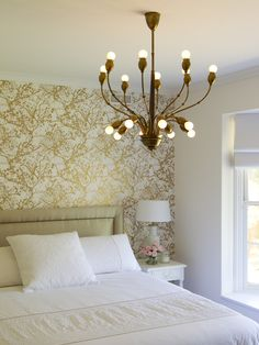 Interior Design, Amusing Contemporary Bedroom With Artistic Accent Wallpaper Also Antique Chandelier Design Also Modern Queen Size Bed Design Also Classic White Nightstand Also Classic Table Light Also Clean White Pillowcase: The Gorgeous Accent Wall Designs