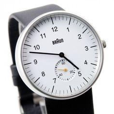 Montre Braun Analogique Blanc Bracelet Cuir Noir BN0024WHBKG : Braun