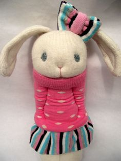 Sweet Little Sockamajig Bunny, all dressed up.