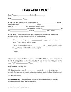 office/business Free Loan Agreement Templates - PDF | Word | eForms – Free Fillable Forms