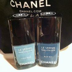 New Chanel nail polishes! Coco blue & blue boy #chanelnailpolish #chanel #nails #nailaddict #nailpolish #nailpolishaddict #cocoblue #blueboy #babyblue #denimblue