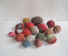 thread and felt covered rocks