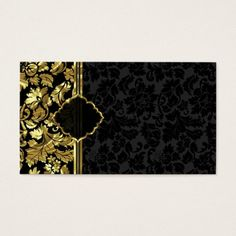 Shop Plain Black And Gold Damasks Business Card created by gogaonzazzle. Fashion Business Cards, Modern Business Cards, Business Card Design, Gold And Black Background, Molduras Vintage, Comic Face, Thai Pattern, Happy Valentines Day Images, Photo Collage Template