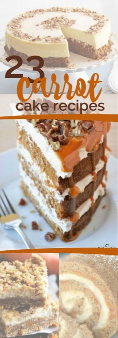If you think there is only one way to make a carrot cake recipe, you're in for a terrific surprise Carrot cake lovers unite! Here's a roundup of 23 delicious carrot cake recipes! Carrot Recipes, Cake Recipes, Dessert Recipes, Bakery Cakes, Just Desserts, Winter Desserts, Vegan Desserts, Savoury Cake, Cupcake Cakes