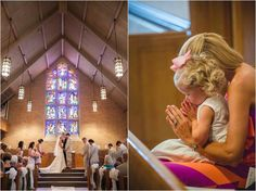 Cute girl praying at the church wedding. Click to view more from this wedding!