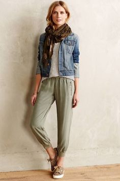 Striped tee + denim jacket + printed scarf + silky loose pants. I could swap the silky pants for my cargo pant. Dressy flats for work, sneaks for weekend.