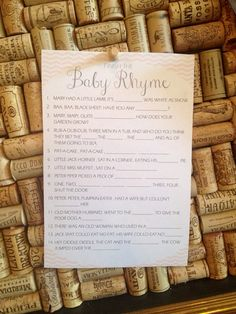 Baby Shower Game printable baby nursery rhyme