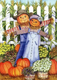 "Rain or Shine Porch Art Flags 28""x40"" Happy Scarecrow Couple, Fall, Autumn"