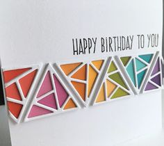 I used paint chips with the Altenew Shattered Triangle die set to make a birthday card. I die cut fourteen different colors of pai. The Ton Stamps, Altenew Cards, Flora, Rainbow Fashion, Homemade Cards, Cardmaking, Birthday Cards, Stencils, Greeting Cards