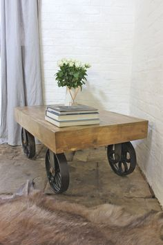 Emma Reclaimed Scaffolding Boards Coffee Table with Vintage Dark Steel Wheel/Castor Legs - Bespoke Urban Furniture by www.inspiritdeco.com