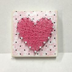 Mini String Art Heart by JOCoriginalcreations on Etsy String Art Heart, Woods, Mini, Unique Jewelry, Places, Handmade Gifts, Etsy, Vintage, Ideas