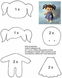 e Moldes de Artesanato Molde boneca menina de feltro - felt doll patternMolde boneca menina de feltro - felt doll pattern Felt Doll Patterns, Stuffed Toys Patterns, Felt Baby, Sewing Dolls, Felt Toys, Soft Dolls, Doll Crafts, Clay Crafts, Paper Crafts
