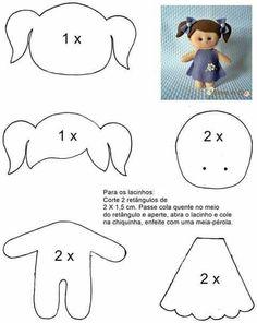 Molde boneca menina de feltro - felt doll pattern