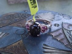 Tiger Iron, Orissa Garnet and Zircon 14K Rose Gold over Sterling Silver Size 7 #SolitairewithAccents