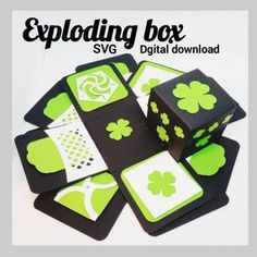 """Exploding box SVG digital download. St. Patrick's Day Shamrock box"" Crafts To Make, Crafts For Kids, How To Use Cricut, Insert Image, Exploding Boxes, Cricut Tutorials, Fold Envelope, Explosion Box, Pocket Cards"