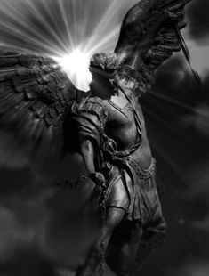 Saint Michael tha Angel who saves me from a fire truck in my dreams when it tried to run me over. Athena Statue, Statue Ange, St. Michael Tattoo, Archangel Michael Tattoo, Angels Among Us, Angels And Demons, Male Angels, Greek Mythology Tattoos, Kunst Online