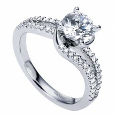 Super Sparkly White Gold Split Shank Bypass Engagement Ring @ Wedding Day Diamonds