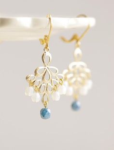 Blue Bird Earrings . gold feather pendant and czech beads by CocoroJewelry on Etsy