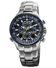 Citizen Men's Eco-Drive Blue Angels World Chronograph A-T Stainless Steel Bracelet Watch 43mm AT8020-54L - Men's Watches - Jewelry & Watches...