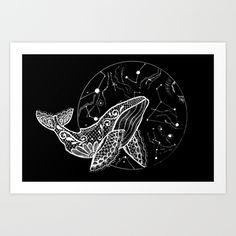 Whale Space Black hole Art Print by Lizz Artt - $18.72