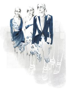 The, From Runway to Sketch, series continues with these Prabal Gurung F/W 2014 collection illustrations by Ewelina Dymek.