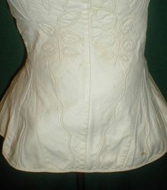 """RARE 1820's Trapunto Embroidered Cotton Corset Antique Vintage 