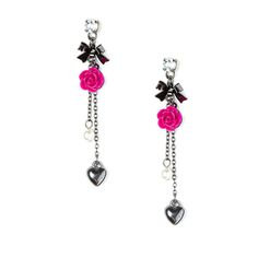 Hematite Bows, Chains, Hearts and Berry Carved Roses Drop Earrings