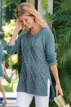 With a narrow diamond design, our Signature Style Sweater is perfectly cozy and casual. It's slightly longer in the back for extra flattery.