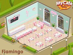 Flamingo, American Retro Style, My Cafe Game Sweet Cafe, Game Cafe, New Recipes, Cafe Recipes, Cooking Games, Cafe Food, Cafe Design, Retro Fashion, Flamingo