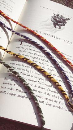 Harry Potter Hogwarts House Bracelets/Bookmarks by EmmasJewelryShoppe on Etsy https://www.etsy.com/listing/619135355/harry-potter-hogwarts-house