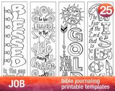 JOB - 4 Bible journaling printable templates, illustrated christian faith bookmarks, black and white bible verse prayer journal