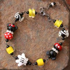 Magical Mouse Disneyland Magic SRA Lampwork Disney Inspired Mickey Minnie Style DeSIGNeR Bracelet Black N Red Polka Dots Trendy Gunmetal