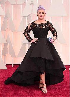Chic Tulle & Satin Bateau Neckline A-Line Celebrity Dresses With Lace Appliques