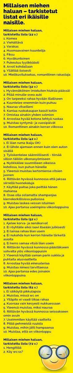 Vitsit: Millaisen miehen haluan – tarkistetut listat eri ikäisille naisille - Kohokohta.com Finland, Lol, Funny, Historia, Funny Parenting, Hilarious, Fun, Humor