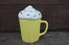 Yummy Cup of Cupcake  Ceramic Coffee Mug with Lid  14 by InAGlaze, $30.00