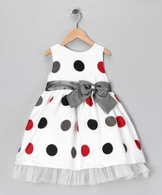Take a look at this Ivory Polka Dot Bow Dress - Infant, Toddler & Girls by Donita on #zulily today!