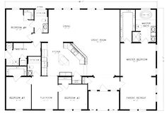 4 bed 3 bath great 1 story layout house plan